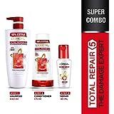 L'Oreal Paris Total Repair 5 Shampoo 640 ML, Conditioner 175 ML & Serum 40ML
