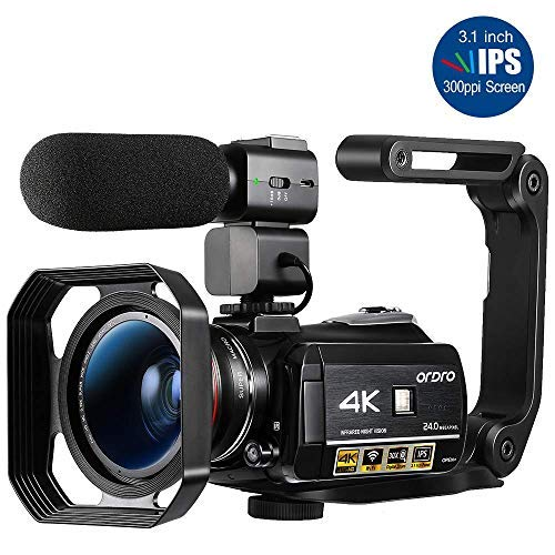 4K Camcorder, ORDRO 4K Ultra HD Camcorder Videokamera 1080P 60FPS WiFi Video Kamera mit IR Nachtsicht, Pausenfunktion, 30X Digitalzoom, Mikrofon, Weitwinkelobjektiv (Profi Kamera Digital)