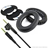 Replacement Earpad Ear Pad Cushions and Replacement Audio Cable (With Mic and Volumn Control) for Bose AE2, AE2i, AE2w Headphone (Cable + Earpad)