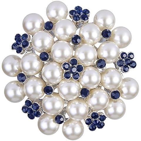 Ever Faith Cristallo fiore in fiore simulato Perla Bridal spilla in argento-Tone Sapphire Colore