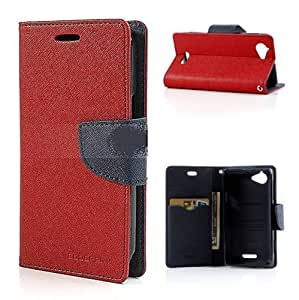 Mercury Goospery Wallet Flip Mobile Cover for Sony Xperia L Red