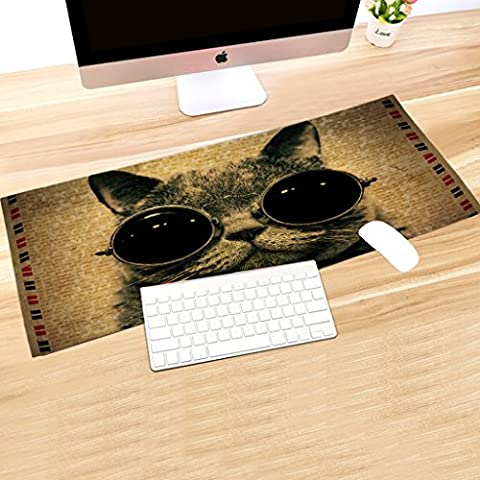 tolulu & # 174; Gaming Mouse Pad dimensioni extra large, 89,9 x 39,9 x 0,3 cm, con cappuccio Lady, Cat Wearing Sunglasses, Grande