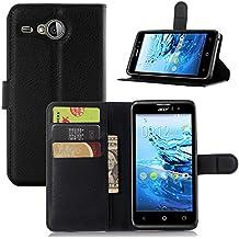 VIFLYKOO Acer LIQUID Z520 Funda, Acer LIQUID Z520 Carcasa Cuero Flip Cover Cuero PU Case Cartera con Ranuras para Tarjetas Incorporadas Cover para Acer LIQUID Z520 Smartphone Case - Negro