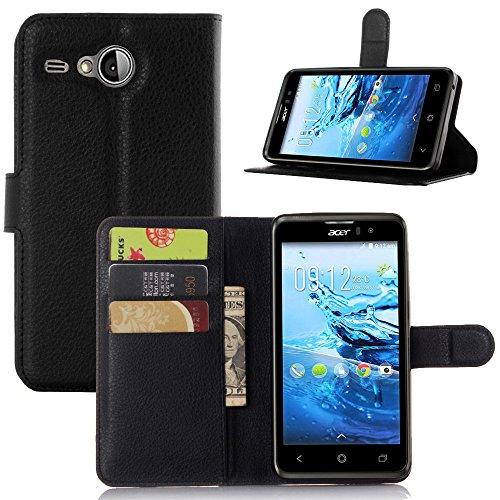 VIFLYKOO Custodia Acer LIQUID Z520 Case, Acer LIQUID Z520 Flip Cover in Pelle PU Case Portafoglio con Built-in Card Slot per Acer LIQUID Z520 Smartphone Cover - Nero