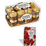 Ferrero Rocher - Valentine's Day Combo - Gift Box, 16 Pieces With Valentine Greeting Card Valentine Hamper 17