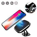 Cargador inalámbrico magnético para coche, Nillkin 2 en 1 Qi Pad de carga inalámbrico y soporte magnético para coche / Office / Home Phone para iPhone X / 8/8 Plus Samsung Note 8 / S8 Plus / S7 / S6 Edge Note 5 y todos los Qi Dispositivos Habilitados, Modelo C