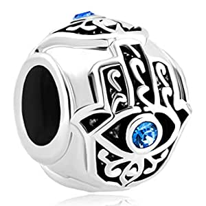 Breloque mauvais œil en cristal compatible avec les bracelets Pandora Bleu