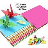 Carta per origami (200 fogli), carta per decorazioni artigianali (70 gm), 20 colori assortiti, quadrate (15 x 15 cm), kit di carta per origami per bambini e fai da te.