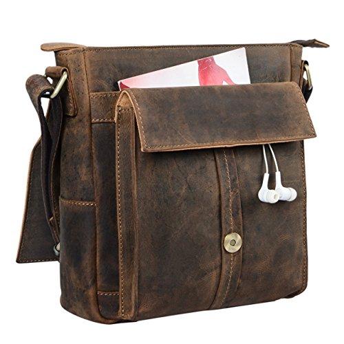 STILORD 'Nevio' Herrentasche Leder Umhängetasche kleine Messenger Bag elegante Handtasche im Vintage Design Schultertasche für 10.1 Zoll Tablet iPad echtes Leder, Farbe:mittel - braun mittel - braun
