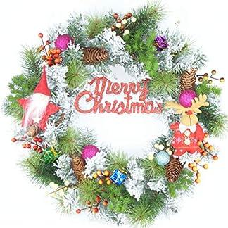 Forevercute-457-cm-Weihnachtskranz-mit-Cartoon-Weihnachtsmann-Zapfen-und-Beeren-Christbaumkugel-Ornamente-fr-Weihnachten