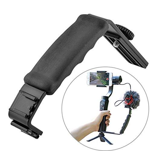 Ulanzi Microphone Light Stand L Bracket Camera Grip with 2 Hot Shoe Mounts Tripod for Zhiyun Smooth Q/Zhiyun Smooth 4 Gimbal/DJI Osmo 2/Rode Videomicro MEHRWEG Flash Bracket Grip