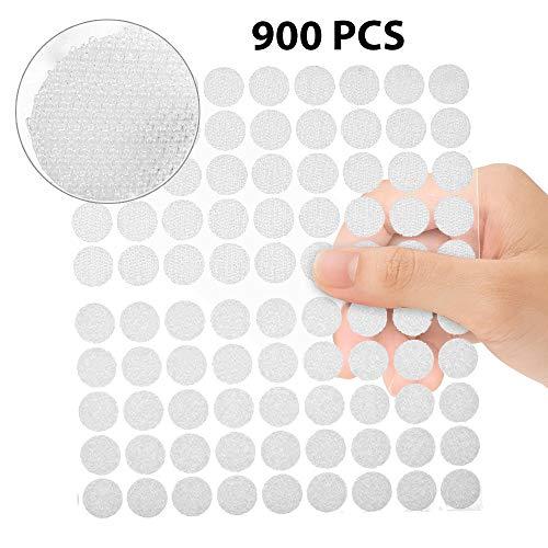 Mopalwin 900 tondini in velcro autoadesivi, 450 paia, colore bianco, Punti autoadesivi con Velcro,Diametro 10 mm,1 cm ,Lato con Gancetti
