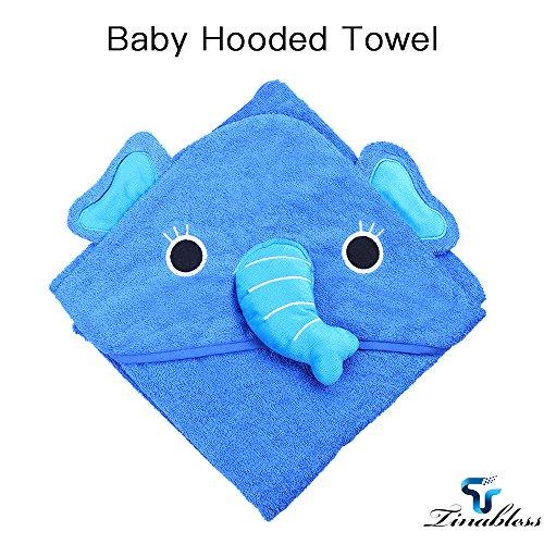 Baby Badetuch, Tinabless Kinder Kapuzenhandtuch im Elefanten-Design 100% Baumwolle Duschtuch Babydecke für Neugeborene, Säuglinge, Kleinkinder - Blau, 34x34 inch (Extra Großes Baby Badetuch)