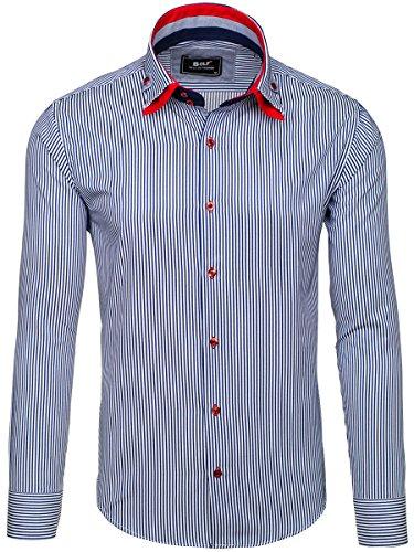 BOLF – Chemise casual à rayures – Manches longues – Slim fit – Classique – Motif – Homme [2B2] Blanc-Bleu foncé