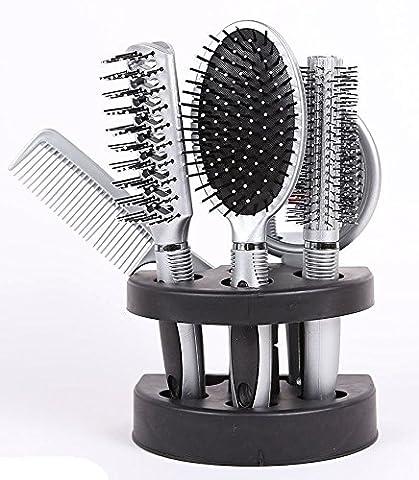 XS-Stock Salon Styler Coffret cadeau 5pièces Hair Care Brosse à cheveux avec miroir et support