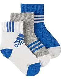adidas LK Ankle 3PP - Calcetines para niño, color naranja / blanco / negro, talla 27-30