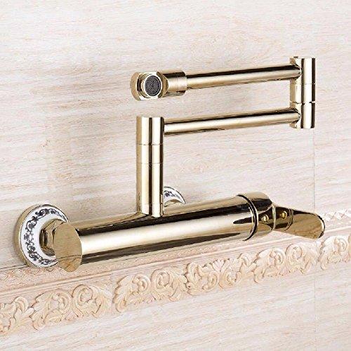 YSRBath Moderne Badzimmer Waschbecken Waschtischarmatur Golden in die Wand Kaltes und Warmes Wasser Einzigen Griff Drehen Gefaltet Mischbatterie Bad Küchenspüle Armaturen Wasserhahn