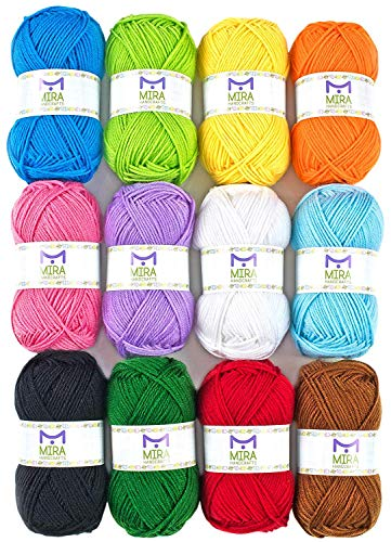 Mira Handcrafts 50g Large Yarn Bonbons - Total of 1200m Knitting and Crochet Yarn - Starter Kit Including 12 Multicolour Yarns and 7 Ebooks with Yarn Wool Patterns