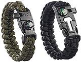Semptec Urban Survival Technology Paracord: 2er-Set Survival-Armband mit Kompass, Seil, Pfeife, Feuerstahl, Messer (Paracord Armbänder)