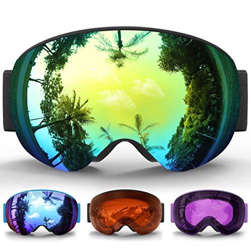 eDriveTech Masque de Ski, Lunette Masque Ski Snowboard Neige Miroir pour Homme  Femme Adulte Jeunesse Junior Enfant Coupe Vent Anti buée Masques Lunettes  de ... 0c9e0d489bc6