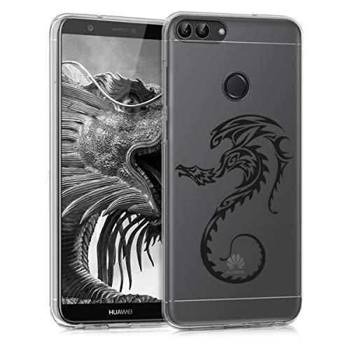 kwmobile Funda para Huawei Enjoy 7S / P Smart - Carcasa de [TPU] para móvil y diseño de dragón en [Negro Transparente]