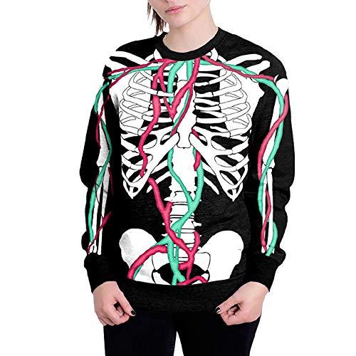 Yesmile Damen Kapuzenpullover Skelett Drucken Halloween Sweatshirt Damen Pullover Hoodie Halloween Langarm Bluse Top mit Kapuze Sweatshirt