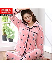 NVYISHUI Pajamas Women S Winter Thick Coral Fleece Pajamas Women S Winter  Cute Flannel Ladies Home Service Suit c4b056583