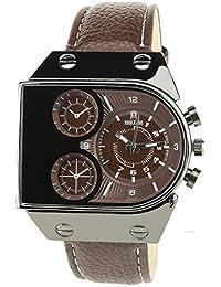 BELLOS -Herren Armbanduhr braun Quarz Rechteck Gehäuse Stahl Analog Display Typ Armband Stahl braun