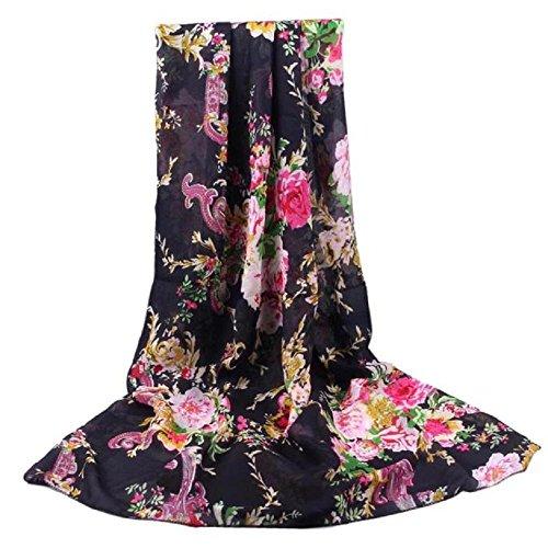Tonwalk Women Cashew Flower Chiffon Scarf Long Soft Wrap (Black)