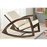 Santosha Decor Solid Sheesham Wood Stylish Rocking Chair / Adult Chair / Relax Chair With White Cushions For Living Room / Garden & Outdoor - Walnut Finishing