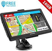 Jimwey GPS Navi Navigation für Auto LKW PKW 7 Zoll 16GB Lebenslang Kostenloses Kartenupdate Navigationsgerät mit POI Blitzer