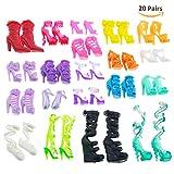 ASIV 20 Paia Moda Sandali Scarpe per Bambole Barbie Accessori del Giocattolo Stile Casuale
