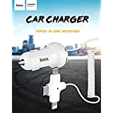 HOCO Z5 3 In 1 Intelligent Car Charger with 3 in 1 Type-C, Micro USB, 8 Pin Charging Cable & USB Port (BLACK)