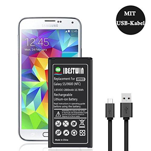 IBESTWIN 2800mAh Akku für Samsung Galaxy S5 / i9600 / SM-G900F / SM-G900H mit NFC (12 Monate Garantie & USB Ladekabel enthalten)