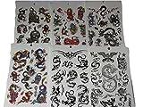 fat-catz-copy-catz - Set di tatuaggi temporanei, soggetti vari in stile tribale e con dragoni cinesi, 6 fogli