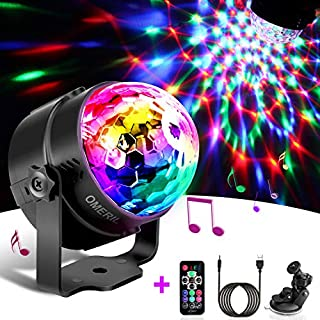 Disco Lights, OMERIL Sound Activated Disco Ball Lights with 4M/13ft USB Charging Cable, 3W RGB Party Lights with Remote Control for Kids Birthday, Family Gathering, Christmas Party, Home-USB Powered