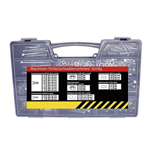 SECOTEC Gewindeschrauben-Sortiment | 560-teilig | Sechskantschrauben, Flachrundschrauben & Muttern im praktischen Koffer | hochwertiger Stahl verzinkt