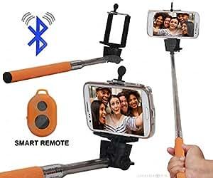 Selfie Stick Monopod With Bluetooth Remote Wireless Shutter Connectivity Compatible For Micromax Canvas Unite 4 Pro Q465 -Brown