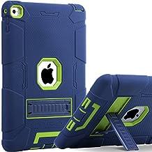 iPad Air 2 Funda, iPad Air 2 funda de la retina, BENTOBEN Heavy Duty 3 en 1 Híbrido Protección Antigolpes Durable Carcasa a Prueba de Golpes con Soporte Plegable Protector Funda para Apple iPad Air 2, Azul y Verde