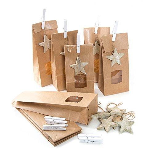 20 braune Weihnachtstüten Papiertüten 10,5 x 6,5 x 29 cm MIT Sicht-FENSTER + 20 natur Holzsterne + 20 Klammern Verpackung give-away Plätzchen Weihnachten Geschenke Kunden