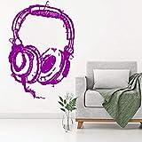 jiuyaomai Fai da Te Dj Ascolto Cuffie Arte Adesivi murali Adesivo Musicale Astratto Cuffie Studio Adesivo murale Carta da Parati Decorativa per la casa 1 57x86cm