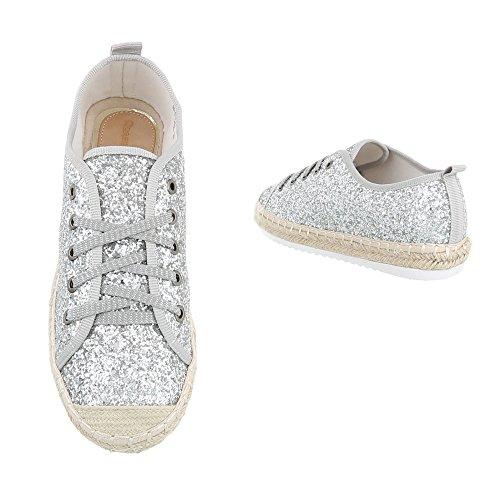 Sneakers Ital-design Basse Sneakers Da Donna Basse Sneakers Lacci Scarpe Casual Argento