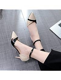 Xue Qiqi La chica salvaje luz tip-Butt, Baotou sandalias ranurado fino de amarre con los zapatos de tacón alto...