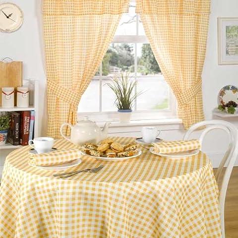 Emma Barclay - Rideaux de cuisine avec tête fourreau plissée vichy Molly - jaune citron - 117 x 137 cm