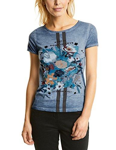 CECIL Damen T-Shirt 311460, Blau (Deep Blue 30128), Medium (Aus Blue Floral Jersey)