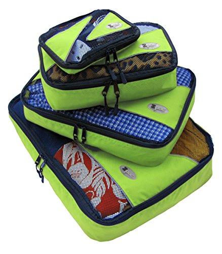 Zpac packing cubes - Organizzatore per la valigia, 4 pezzi (Extra grande, grande, medio, piccolo) (Verde)