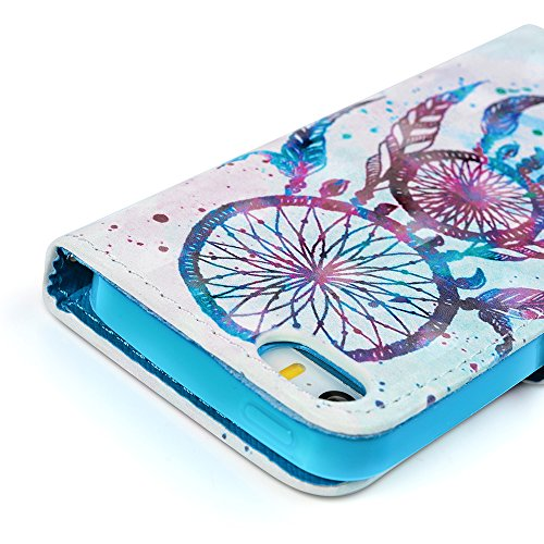 MAXFE.CO Lederhülle Tasche Case für iPhone 5 SE Hülle PU + TPU Schutz Etui Schale Backcover Flip Cover 3D im Bookstyle mit Standfunktion Kartenslots-Traumfänger 1 Traumfänger 1