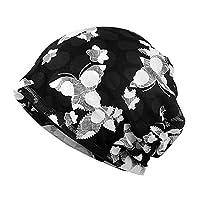 Glamorstar Floral Lace Beanie Hat Chemo Cap Stretch Slouchy Turban Headwear Butterfly Black