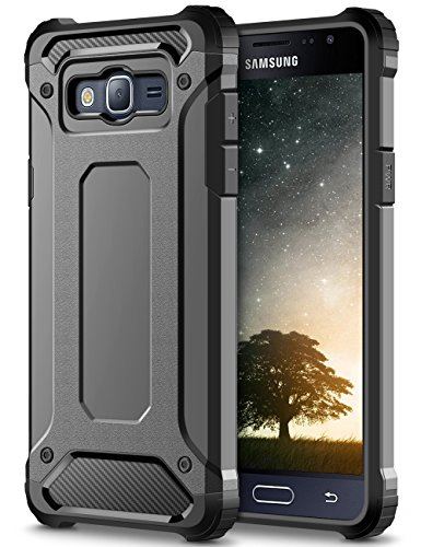 Coolden Galaxy J3 2016 Custodia, Grigio Shock-Absorption Rugged Armor e Anti-Scratch Soft Back TPU PC Bumper Protezione Custodia Cover per Samsung J3 2016 (J310) Smartphone