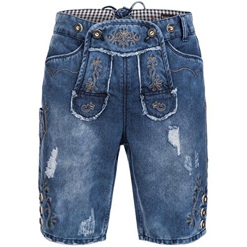 Jeans-Lederhose in Blau von Krüger, Größe:50, Farbe:Blau